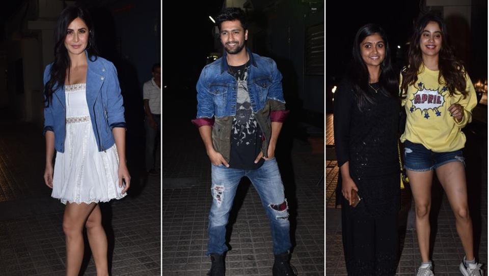 Bhoot Part One screening: Katrina Kaif joins Vicky Kaushal, Janhvi Kapoor poses with Sairat star Rinku Rajguru