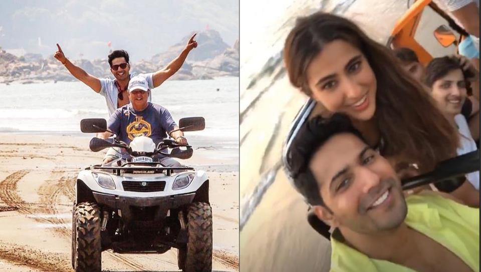 Varun Dhawan, Sara Ali Khan and David Dhawan having fun on sets of Coolie No 1.