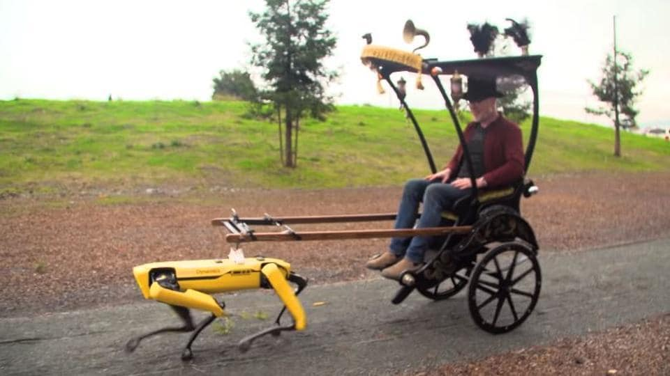 Watch Video: Robot dog pulls a rickshaw