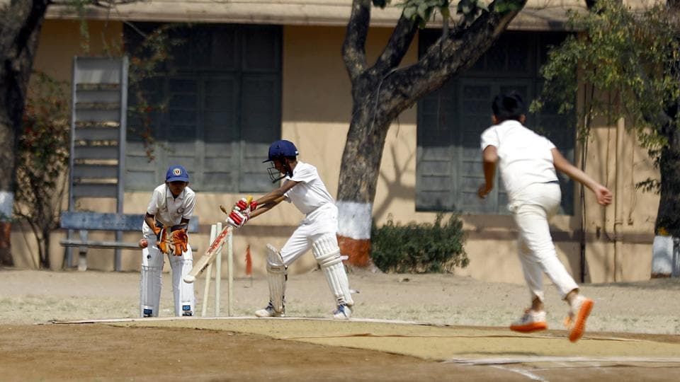 Prem Deshmane of Angle English Medium School clean bowled during the under-14 Kohinoor PDCA cricket tournament at Law College, ground against DY Patil High School on Wednesday.