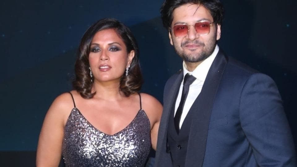 Actors Richa Chaddha and Ali Fazal at a blue carpet event hosted by Amazon Prime Video to welcome Amazon CEO Jeff Bezos.