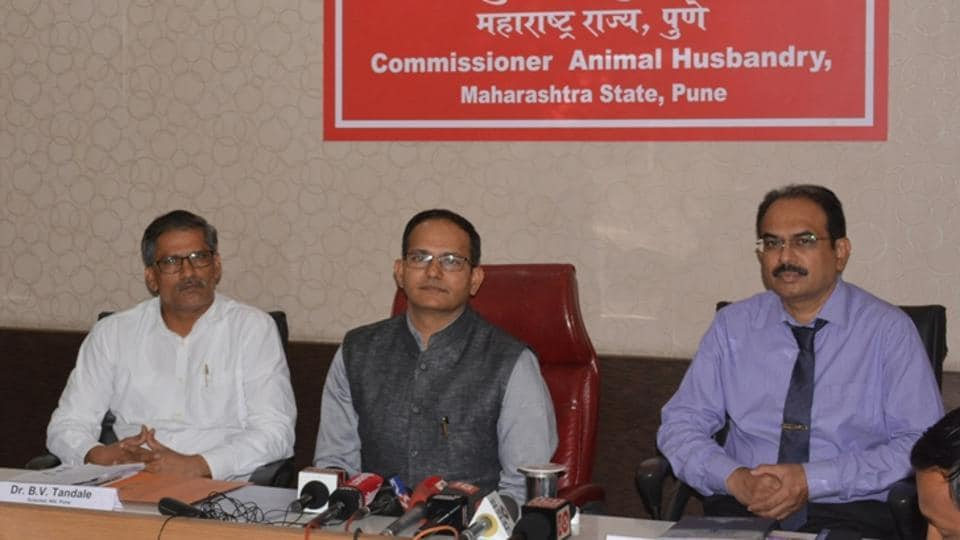 (From left) BN Tandale, scientist, NIV; Sachindra Pratap, commissioner, animal husbandry department and Dr Rajesh Karyakarte, dean, Sassoon hospital during the press conference on Thursday.