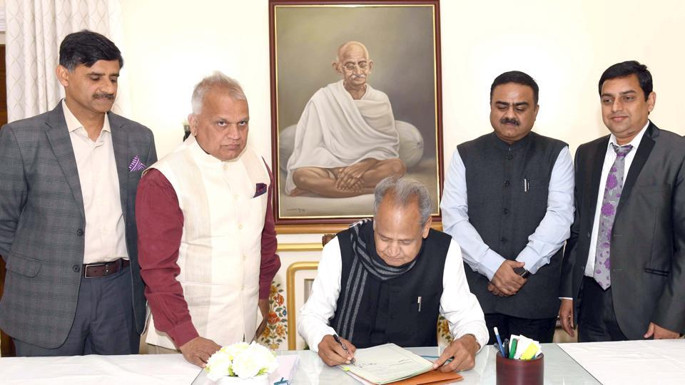 CM ashok gehlot giving final touches to the State Budget 2020-21 at CMO on Wednesday.