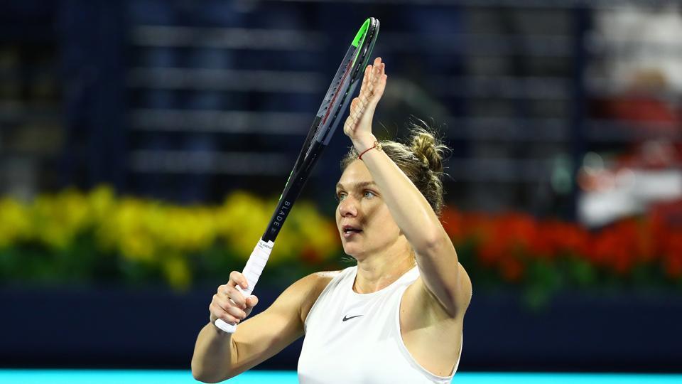 Tennis - WTA Premier - Dubai Tennis Championships - 2020 Romania's Simona Halep celebrates winning her quarter final match against Belarus' Aryna Sabalenka