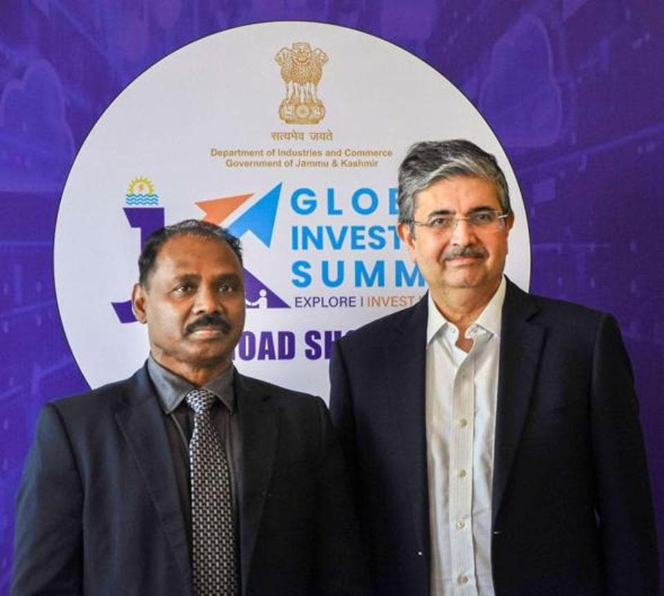Jammu and Kashmir lieutenant governor GC Murmu (left) with Confederation of Indian Industry (CII ) president Uday Kotak during the CII Jammu-Kashmir Investors Summit in Mumbai on Friday.