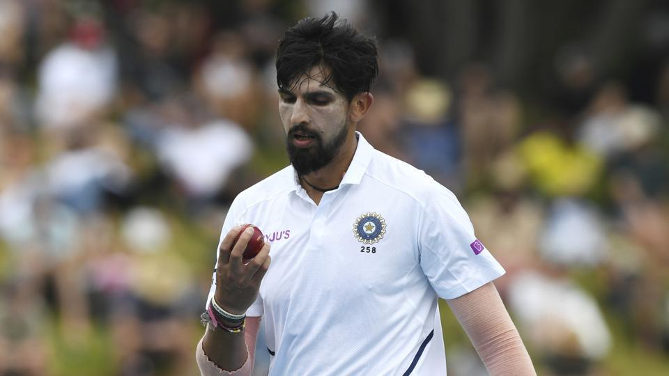 Ishant Sharma during the first test between India and New Zealand at the Basin Reserve in Wellington.