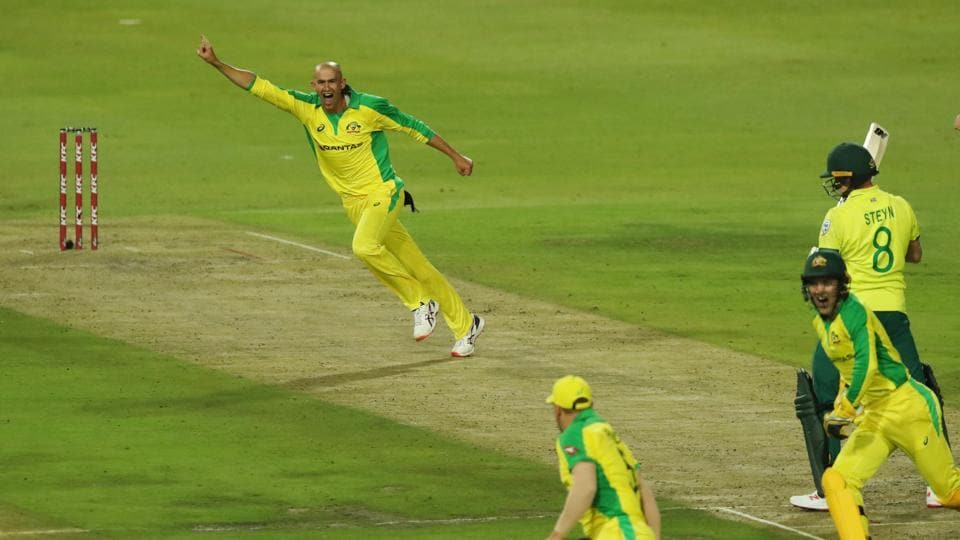 Australia's Ashton Agar celebrates taking the wicket of South Africa's Dale Steyn.