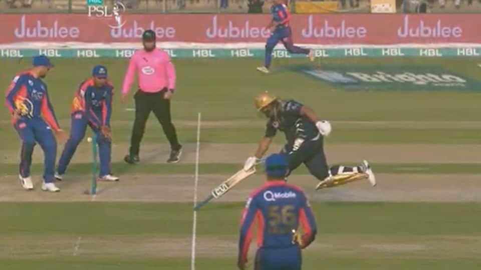 Azam Khan completes a run with an inverted bat