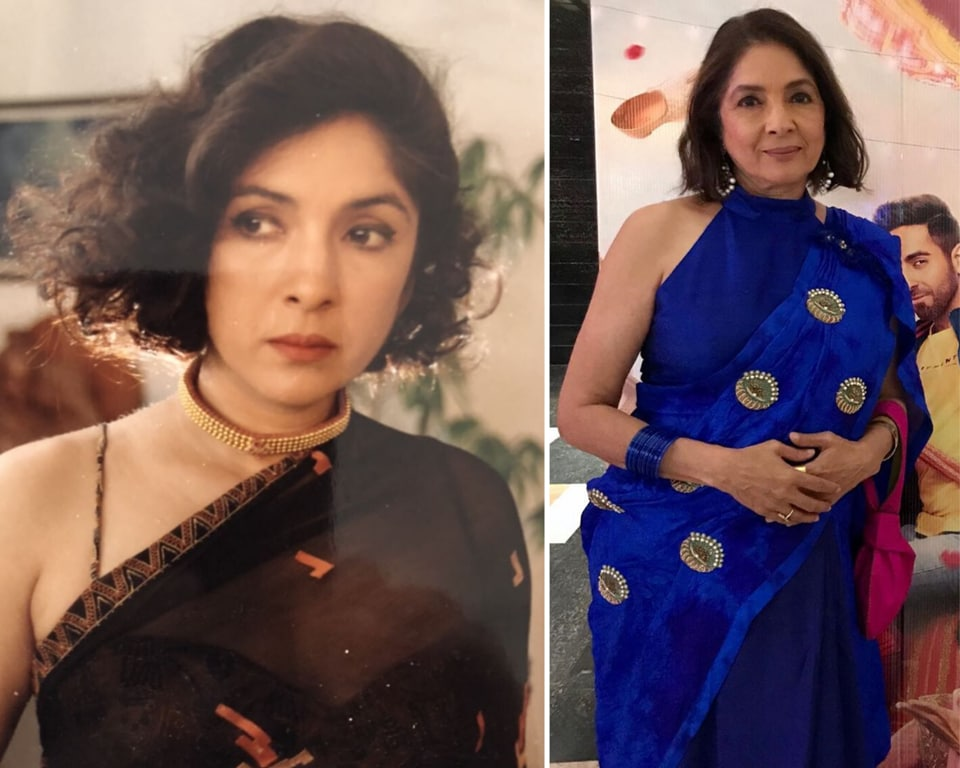 The photo was from 25 years ago, and Neena shared the photograph of her youthful self wearing a black halter-necked blouse with a black saree, she wore a gold choker in her neck and sporting a short, curly bob.