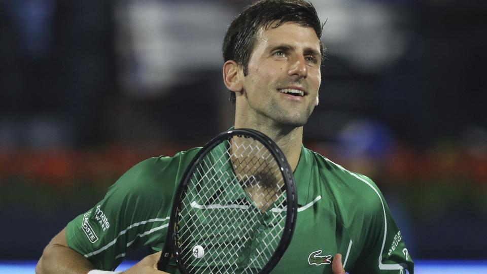 Dubai: Serbia's Novak Djokovic celebrates after he beats Tunisia's Malek Jaziri.