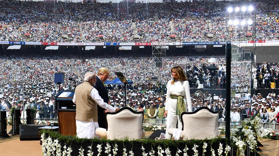 Image result for trump in ahmedabad stadium