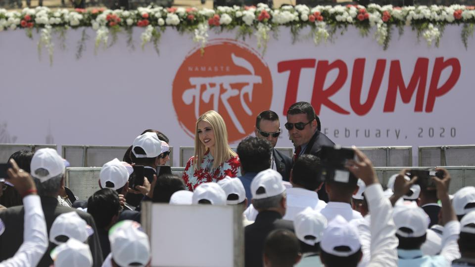 Ivanka Trump, the daughter and adviser to U.S. President Donald Trump, interacts with guests during the 'Namaste Modi' event at Sardar Patel Stadium in Ahmedabad. (Aijaz Rahi / AP)