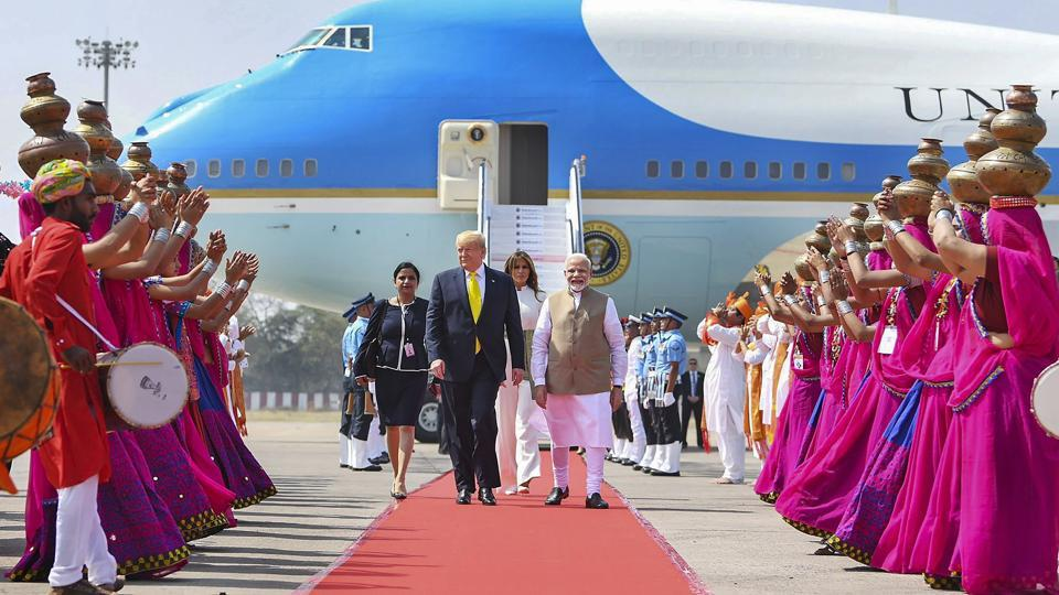 Prime Minister Narendra Modi welcomes US President Donald Trump and first Lady Melania Trump, on their arrival at the Sardar Vallabhbhai Patel International Airport in Ahmedabad. Trump began his two-day India visit on Monday. He arrived in Ahmedabad around 11.40am for the first-leg of his trip. (PTI)