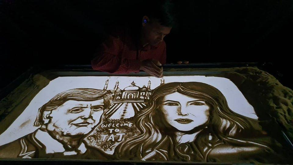 Sand animator Manas Kumar  has created an art piece in which  Donald Trump and Melania are seen in front of the Taj Mahal.