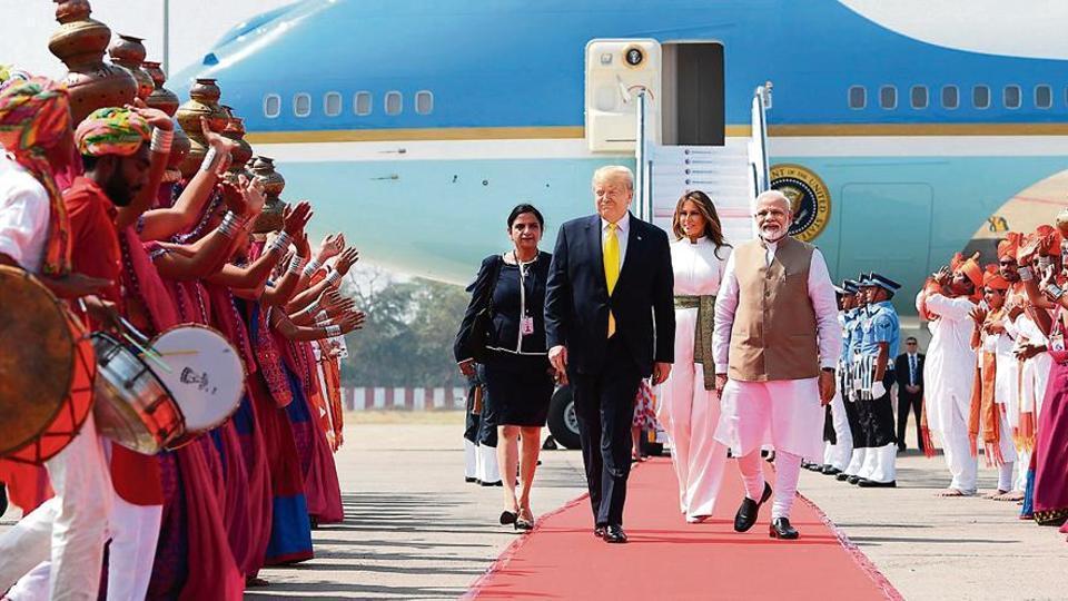 Prime Minister Narendra Modi welcomes US President Donald Trump and First Lady Melania Trump at Sardar Vallabhbhai Patel International Airport on Monday.