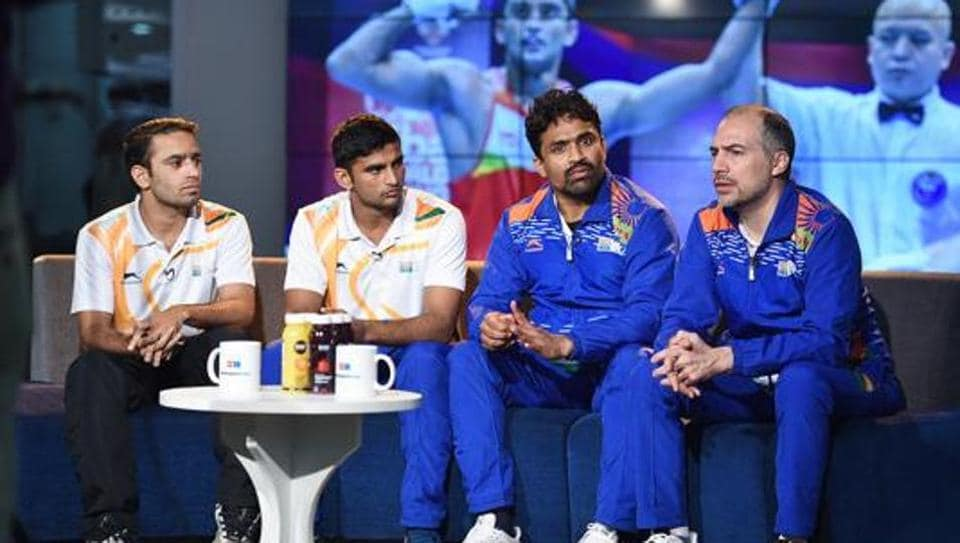 Boxer Amit Panghal, boxer Manish Kaushik, coach CS Kutappa and coach Santiago Nieva during an interview with Hindustan Times, at HT House, in New Delhi.