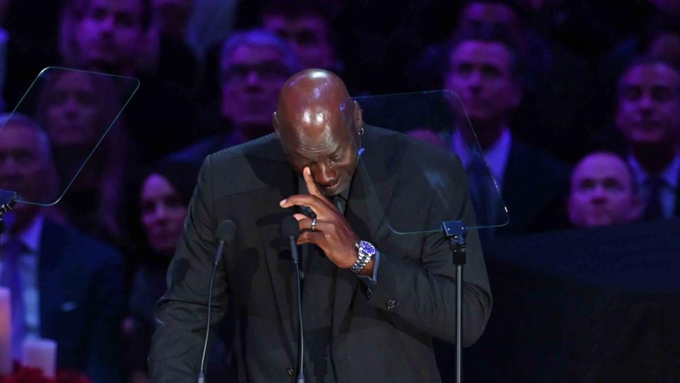 NBA legend Michael Jordan sheds tears during the memorial to celebrate the life of Kobe Bryant and daughter Gianna Bryant at Staples Center. Mandatory Credit: Robert Hanashiro-USA TODAY Sports