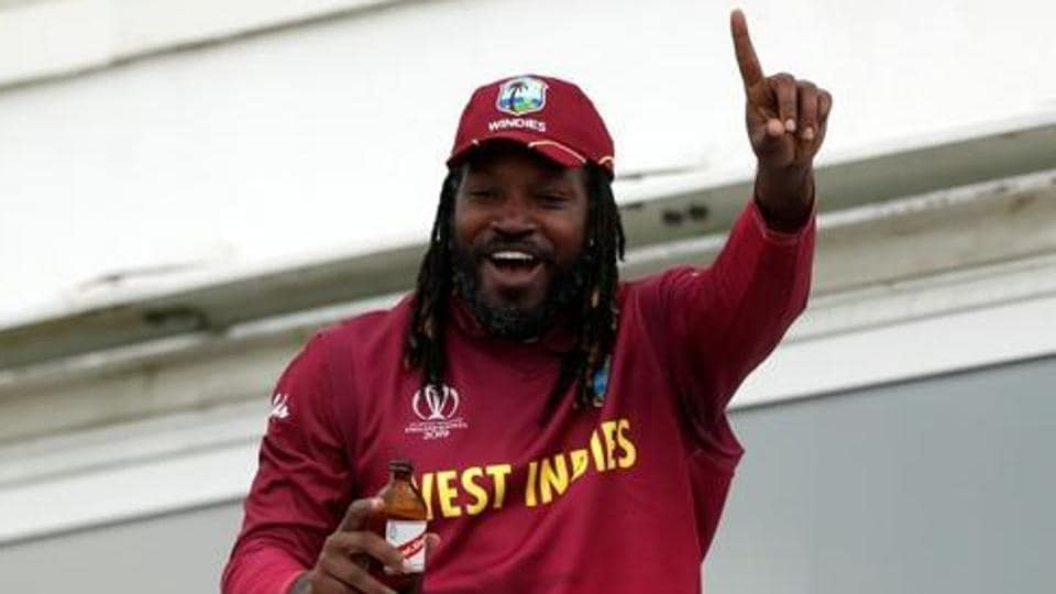 West Indies' Chris Gayle celebrates after the match.