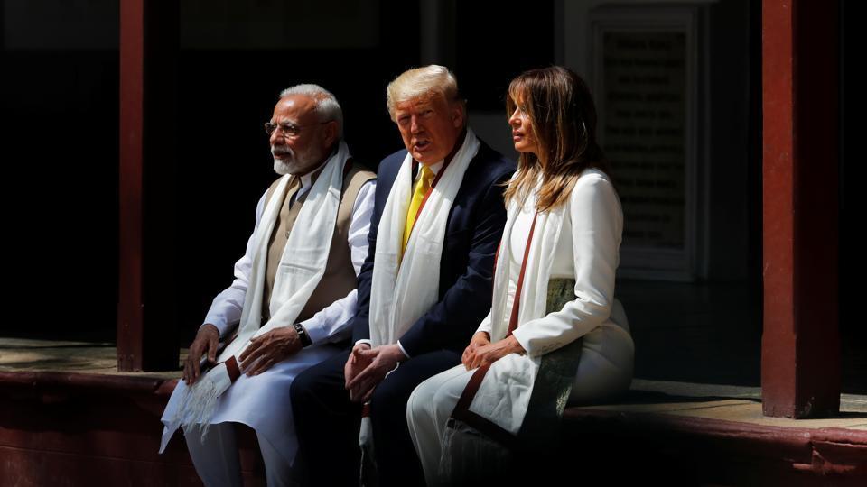 Indian Prime Minister Narendra Modi, US President Donald Trump and First Lady Melania Trump visit the Gandhi Ashram in Ahmedabad.
