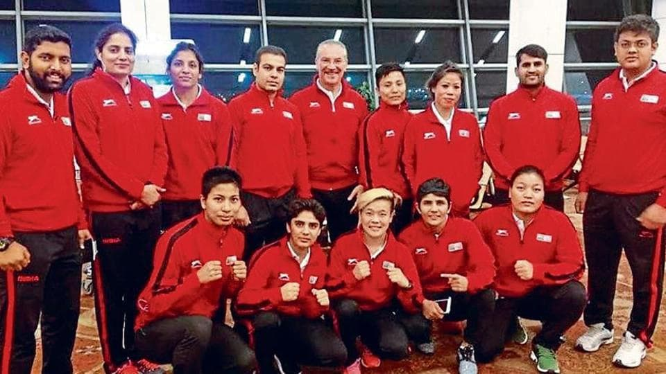 Indian boxers before leaving for the camp in Italy.