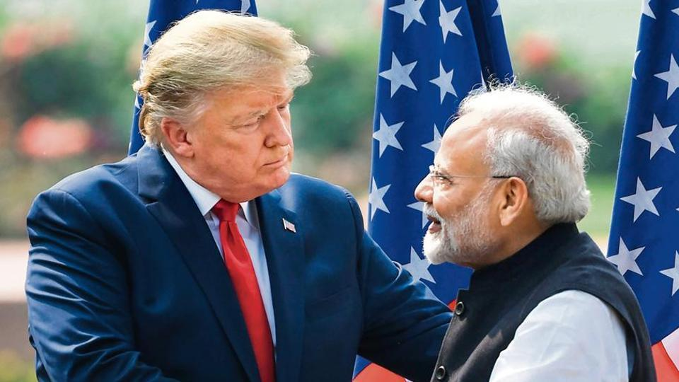 US President Donald Trump with PM Narendra Modi at the joint press briefing at Hyderabad House in New Delhi on Tuesday.