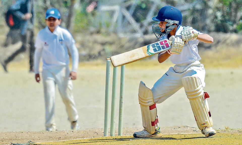 Yash Adhikari of Abhinava Vidyalaya in action against Kline Memorial School during the PDCA u14 interschool tournament at the Fergusson College grounds on Wednesday.
