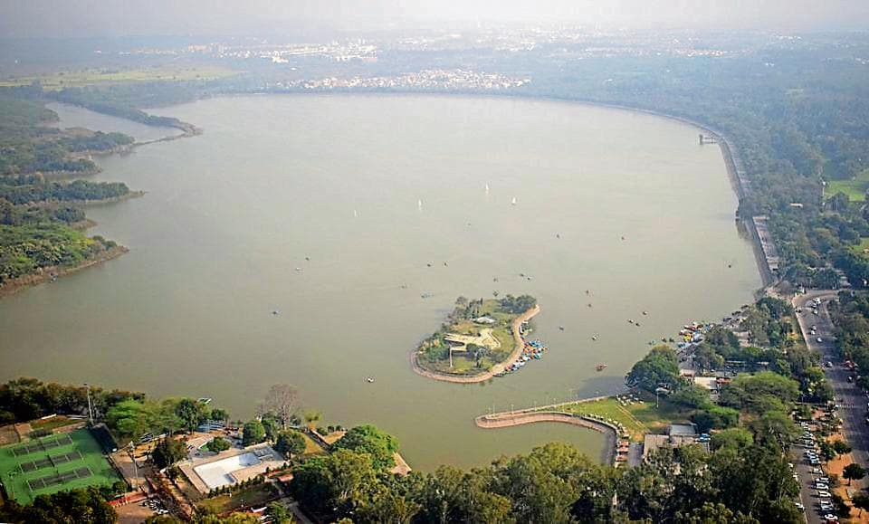 Chandigarh India 23 February 2018::Aerial view of Sukhna Lake captured from Helicopter during joy ride by Heritage Aviation on the occasion of Rose Festival in Chandigarh on Friday February 23, 2018.Photo by Anil Dayal/Hindustan Times