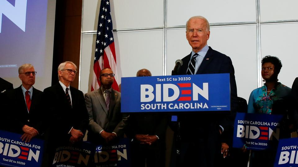 Democratic U.S. presidential candidate and former U.S. Vice President Joe Biden speaks after Rep. James Clyburn endorsed Biden's campaign for president at an event in North Charleston, South Carolina, February 26, 2020.