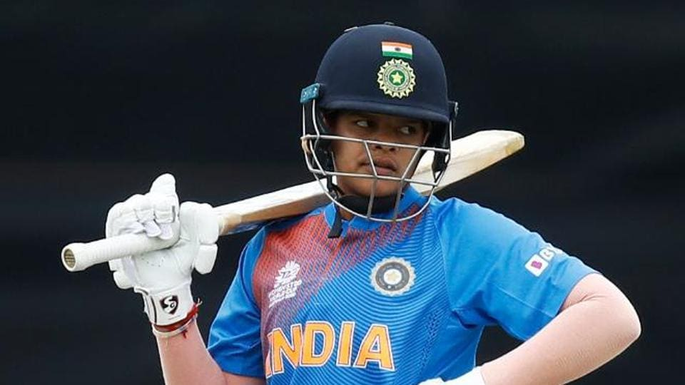 Shafali Verma looks on during India's ICC Women's World Cup clash against New Zealand at Junction Oval in Melbourne on Thursday. (ICC/ Twitter)
