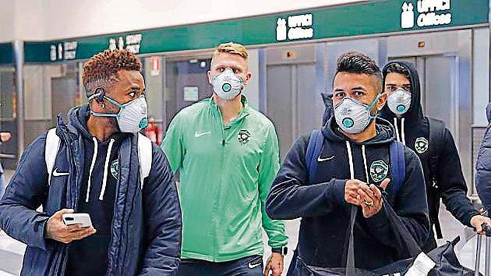 Bulgarian team Ludogorets players arrive at the Milan airport to play their Europa League in an empty stadium against Inter Milan