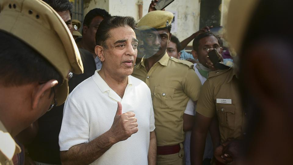 Actor-politician and Makkal Needhi Maiam founder Kamal Haasan comes out of a mortuary after paying homage to three of the victims, who died after a crane crashed on the sets of upcoming film Indian 2.