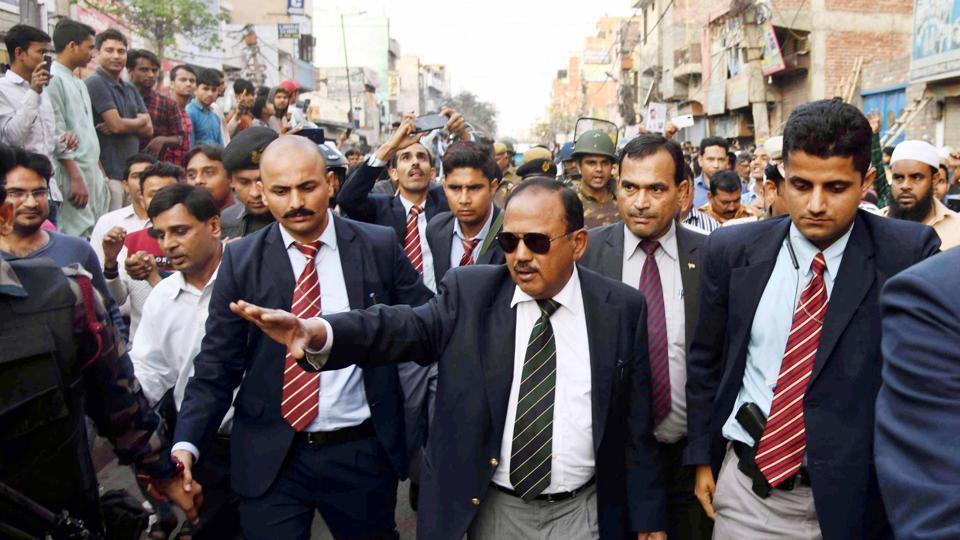National Security Advisor Ajit Doval interacts with local residents at violence affected areas in Maujpur, in Northeast Delhi on Wednesday.