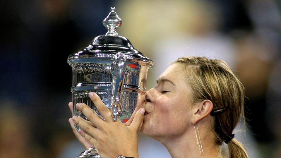 File image: Russia's Maria Sharapova celebrates winning the US Open.