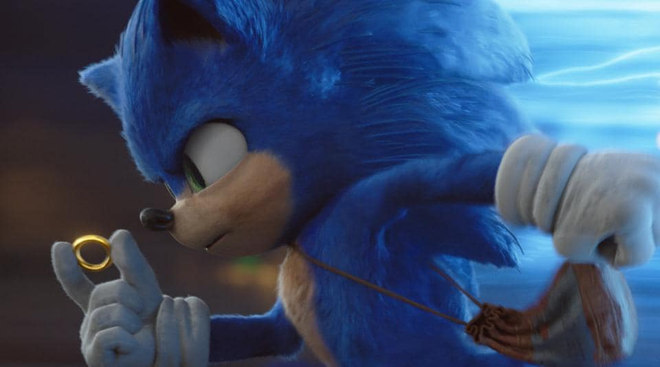 This image released by Paramount Pictures shows Sonic, voiced by Ben Schwartz, in a scene from Sonic the Hedgehog.