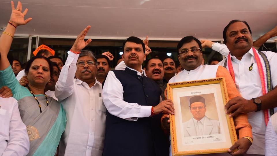 BJP legislators staged a protest with Savarkar's photo during the Maharashtra legislature's budget session in Mumbai on Wednesday.