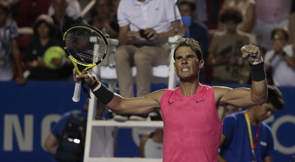 Acapulco: Spain's Rafael Nadal celebrates defeating Serbia's Miomir Kecmanovic in the second round of competition at the Mexican Tennis Open in Acapulco, Mexico, in the early morning hours of Thursday, Feb. 27, 2020.