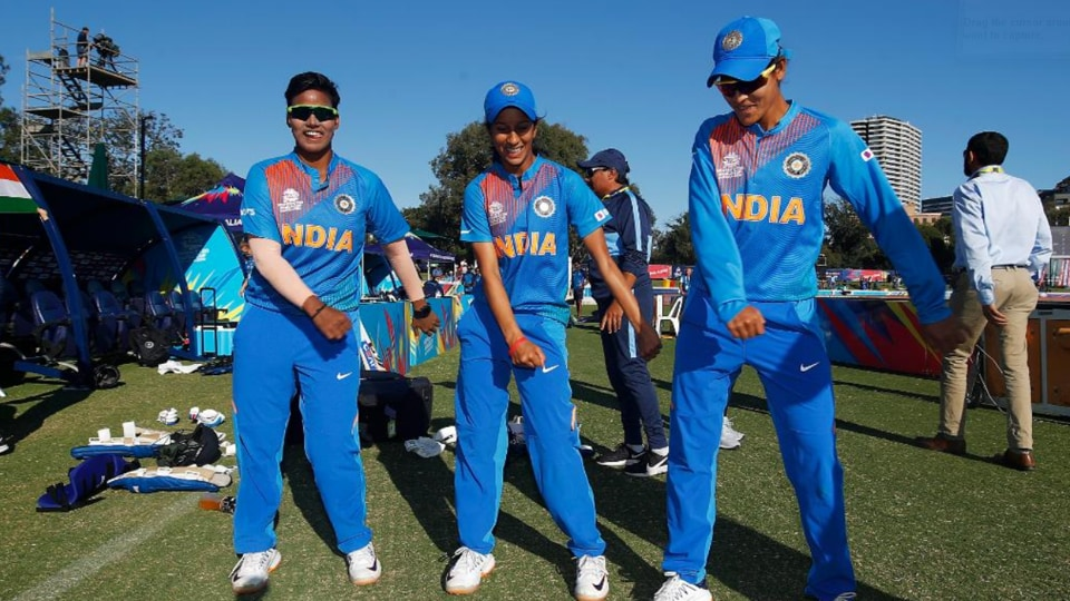Indian players shake their legs after the match.
