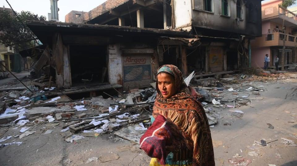 A scene of destruction at Brahmapuri in Northeast Delhi.