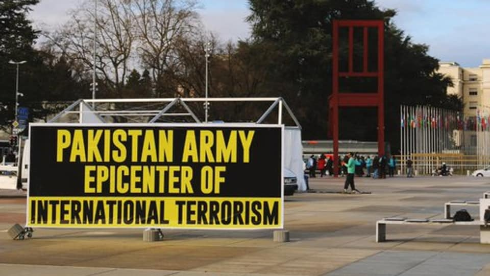 """The banner, which read """"Pakistani Army Epicenter of International Terrorism"""", was seen near the iconic Broken Chair during the 43rd session of UNHRC."""