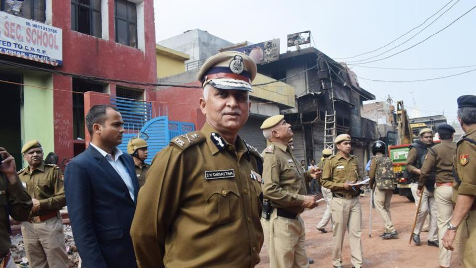 Newly appointed Commissioner of Delhi Police S N Shrivastava visits violence-affected areas at Shiv Vihar in Northeast Delhi.