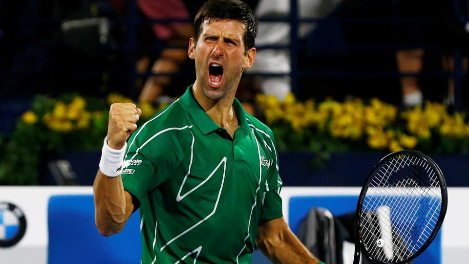 Serbia's Novak Djokovic celebrates after winning the Final match against Greece's Stefanos Tsitsipas.