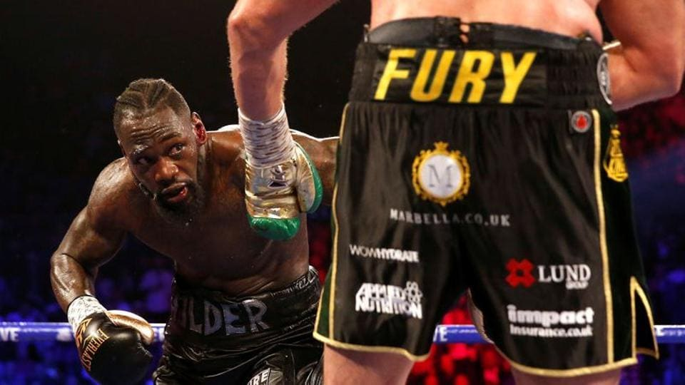 Deontay Wilder in action against Tyson Fury.