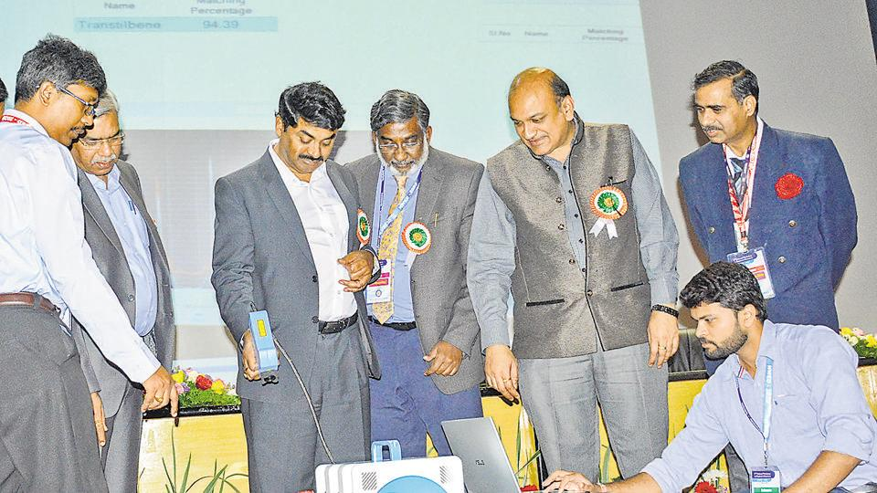 Second from left onwards: KPS Murthy, Satheesh Reddy, Shiva Umapathy and PKMehta during the second national conference on explosive detection, at Pashan, on Sunday.