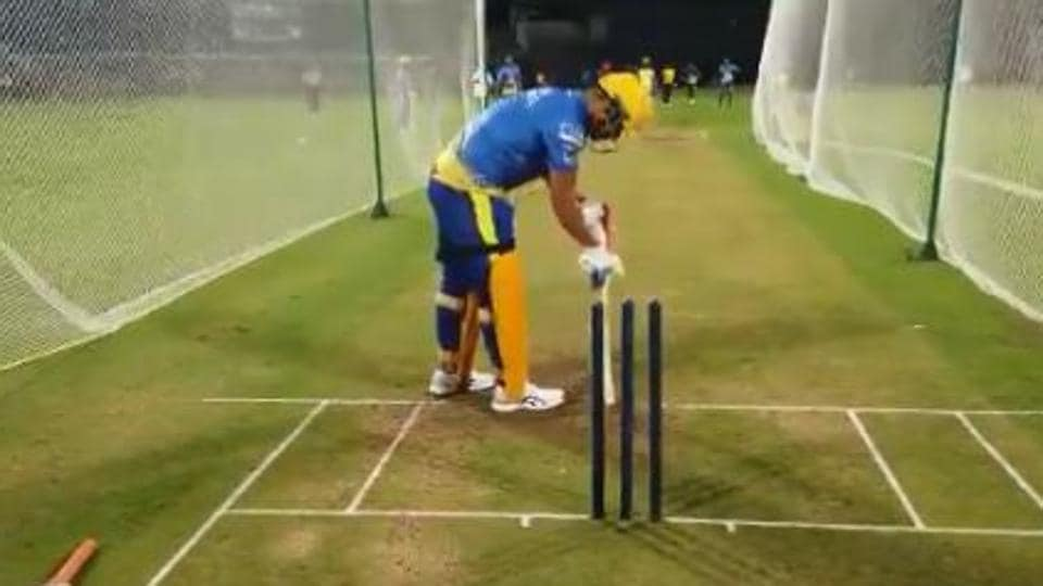 MS Dhoni in CSK net session ahead of IPL 2020