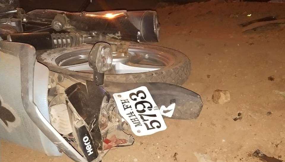 One of the motorcycles crushed in the accident Khandala Ghat on old Mumbai-Pune highway late Sunday night.