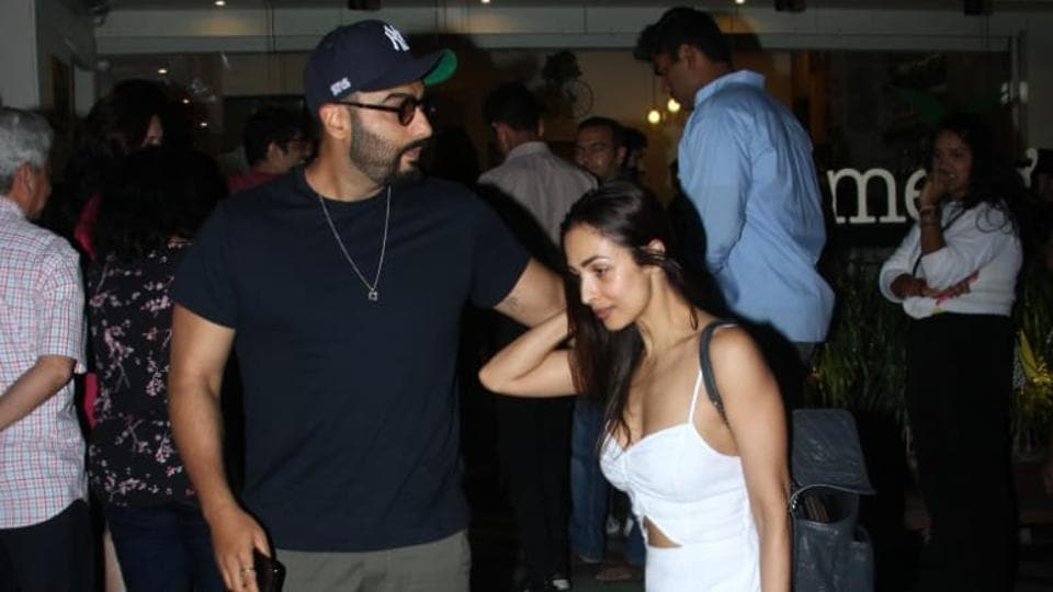 Arjun Kapoor and Malaika Arora were clicked outside a restaurant in Mumbai onSunday night.