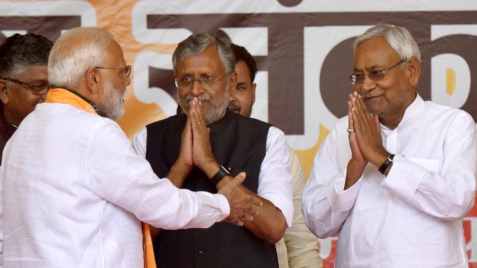 The BJP has already announced that it will go to the Bihar election — to be held in November — under the leadership of JD(U) leader and chief minister, Nitish Kumar.(Photo Santosh Kumar/ Hindustan Times)