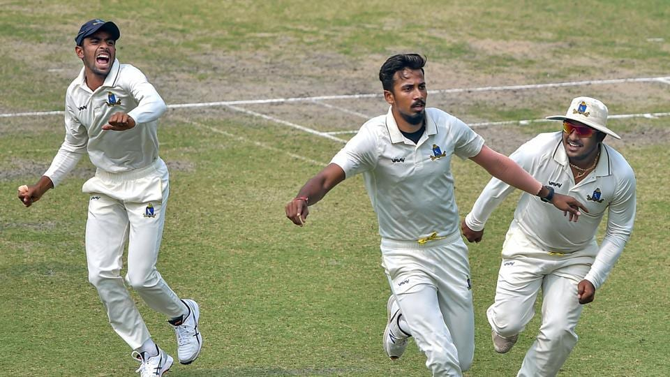 Kolkata: Bengal bowler Ishan Porel celebrates with his teammates after the dismissal of Karnataka opener KL Rahul (unseen) during the 3rd day of Ranji Trophy semi-final match, at Eden Gardens in Kolkata, Monday, March 2, 2020.