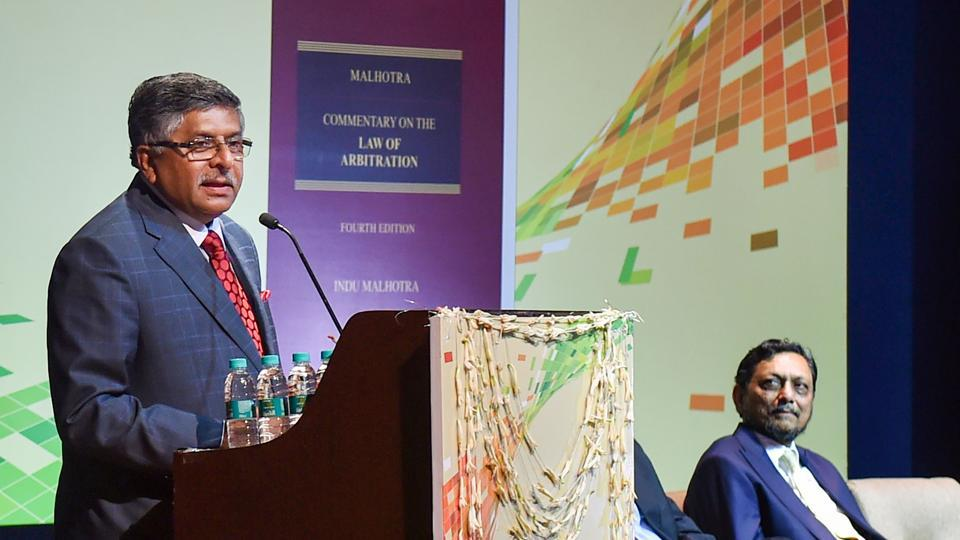 Union Law Minister Ravi Shankar Prasad speaks during the launch of a book 'Commentary on the Law of Arbitration', authored by Indu Malhotra in New Delhi.