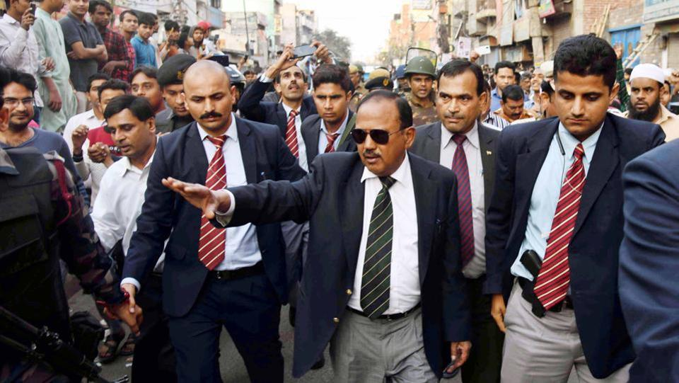 National Security Advisor (NSA) Ajit Doval interacted with local residents at violence affected areas in Maujpur, on  February 26.Prime Minister Narendra Modi tasked NSA Doval with the job of restoring normalcy in the riot-hit areas as concerns grew over inept handling of the spiraling violence by the Delhi Police. (HT Photo)